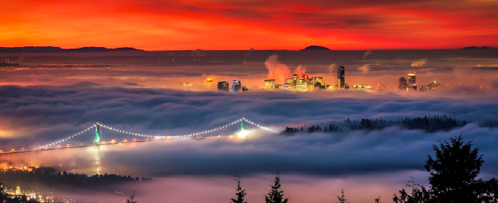 Lions Gate Bridge morning scene from Cypress Mountain